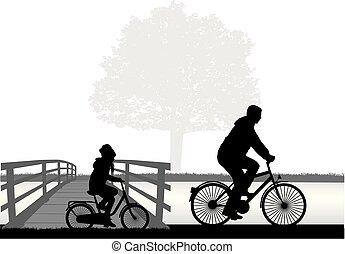 pappa och dotter, på, a, bike.