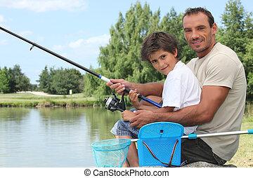 pappa och son, fiske