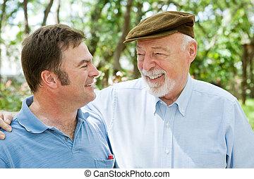 pappa och son, skratt