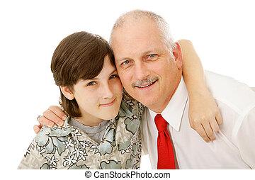 pappa och son, tillsammans