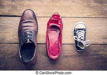 pappa, par, begrepp, dotter, familj, skor, , tre, mamma