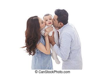 pappa, söt, deras, mamma, baby, kyssande