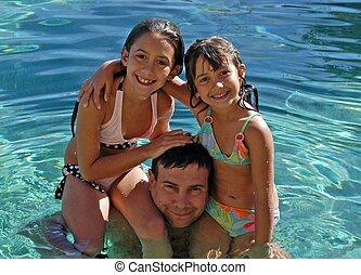 pappa, simning
