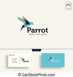 pappagallo, illustrazione affari, creativo, vettore, sagoma, logotipo