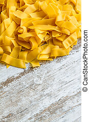 Preparing Pappardelle, egg pasta background