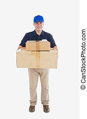 pappe, auslieferung, tragen, pakete, stapel, mann