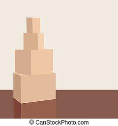 pappe, boden, room., haus, bewegen, kästen, vektor, haufen , neu , apartment., karton, stapel, leerer