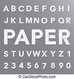 papper, alfabet, skugga, vit