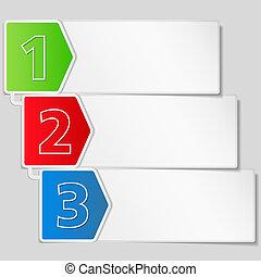 papper, baner, med, tre, steg