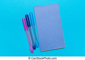 papper, blå, bakgrund., tom, anteckningsbok
