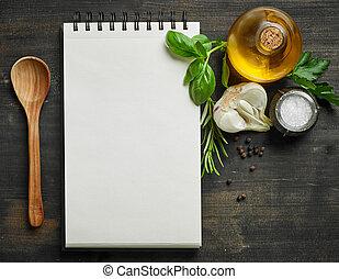 papper, blocknot, och, mat, ingredienser