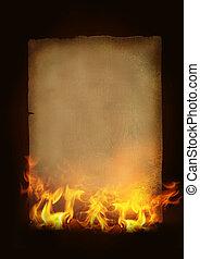 papper, brännande, gammal