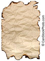 papper, bränt