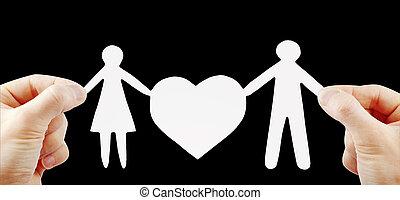papper, familj, med, hjärta, in, räcker
