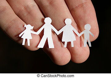 papper, familj, på, hand