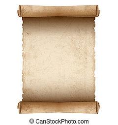 papper, gammal, vektor, rulla