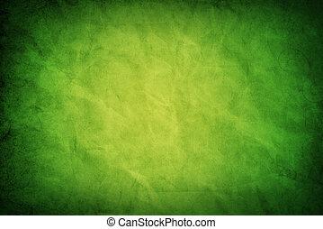 papper, grungy, grön, struktur