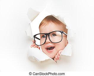 papper, hål, genom, flicka, barn, glasögon, rolig, titta, vit, tom, baby