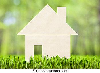 papper, hus, på, grönt gräs, begrepp