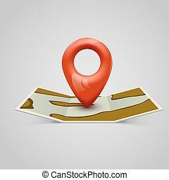 papper, karta, ikon, med, stift, pointer.