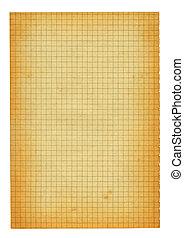 papper, kvadrerat, gammal, storlek, stycke, xxl