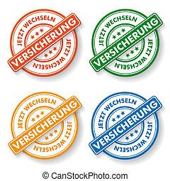 "Papper labels - Stemp sticker with german text "" jetzt..."