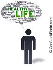 papper, man, med, hälsosam, liv, bubbla