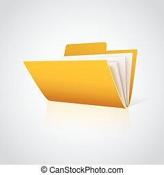papper, mapp, vektor, white., ikon