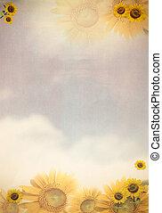 papper, med, sol blomma