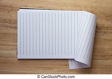 papper, notebook., sida