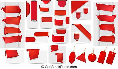 papper, origami, kollektion, röd, stor