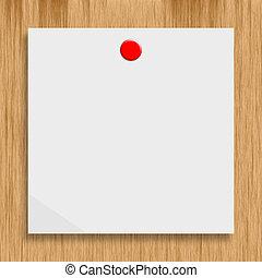 papper, på, a, trä vägg