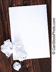 papper, på, trä, bakgrund