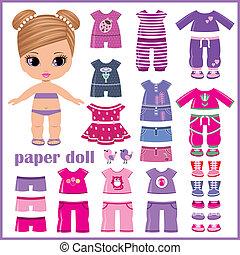 papper, sätta, docka, kläder