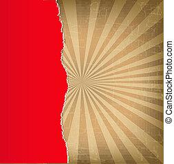 papper, sönderrivet, sunburst, röd fond