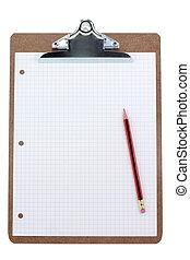 papper, skrivplatta, galler