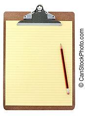 papper, skrivplatta, gul