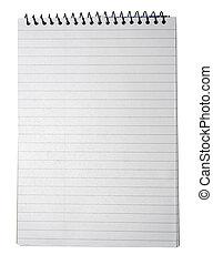 papper, text, isolerat, eller, bakgrund., bindemedel, anteckningsbok, design, vit, randig, din, tom, sida