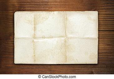papper, ved, gammal, tom, bakgrund