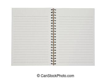 papper, vit, anteckningsbok, bakgrund, tom