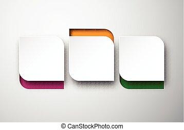 papper, vit, noterar., rundat