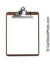 pappersklämma planka, med, papper
