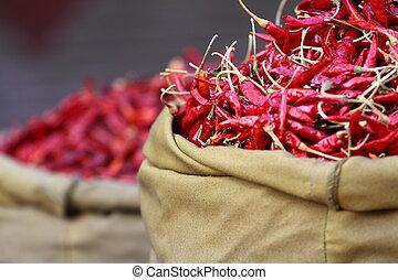 paprica, 伝統的である, india., 赤, 野菜, 市場