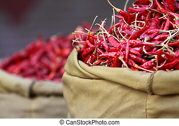 paprica, hagyományos, india., piros, növényi, piac