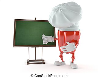 Paprika character with blank blackboard