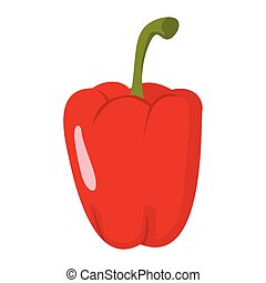 Paprika icon in cartoon flat style isolated object vegetable organic eco bio product from the farm vector illustration