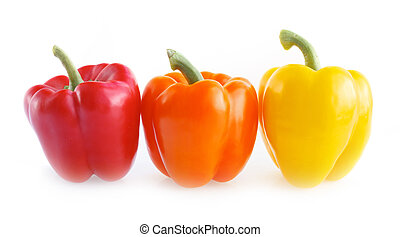 Fresh colorful paprika isolated on white background.