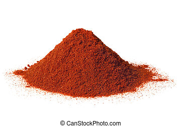 Paprika - Heap of brilliant red sweet paprika, isolated on...