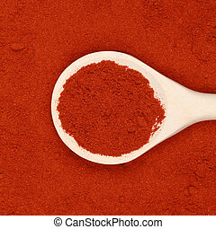 A wooden spoon lies on paprika powder as background