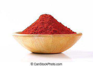 Paprika powder in a wooden bowl